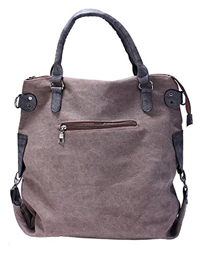 Adore Center Unisex Tasche Echtleder Canvas Stern Shopper Schultertasche Handtasche Vintage Portemonnaie 4 Farben wählbar Dunkelgrau