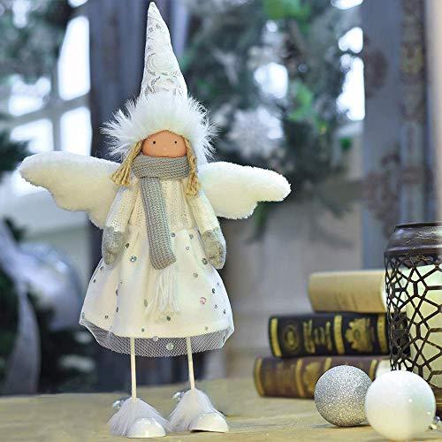 Victor's workshop decorazione natalizia decorazione tavolo bambola figurina inverno bianco angelo in piedi per la casa deco regali 33 * 11 * 12cm