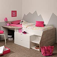 Hochbett weiß/grau Inklusive Schreibtisch + Kommode + Ablagefach Spielbett Kinderbett Jugendzimmer Kinderzimmer preisvergleich bei kinderzimmerdekopreise.eu