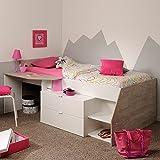 Hochbett weiß/grau Inklusive Schreibtisch + Kommode + Ablagefach Spielbett Kinderbett Jugendzimmer Kinderzimmer
