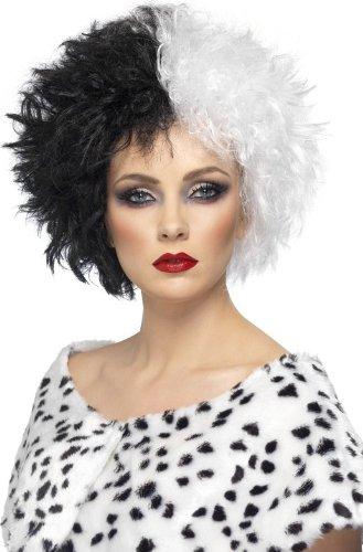 Kostüm Cruella Perücke De Vil - Bösewicht Damenperücke Halloween