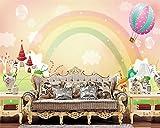 Wapel Modernen Cartoon Regenbogen Foto Tapete Mit Kinder Haus Dekoration Hintergrund Fototapete Tapeten Seidenstoff 200x140CM