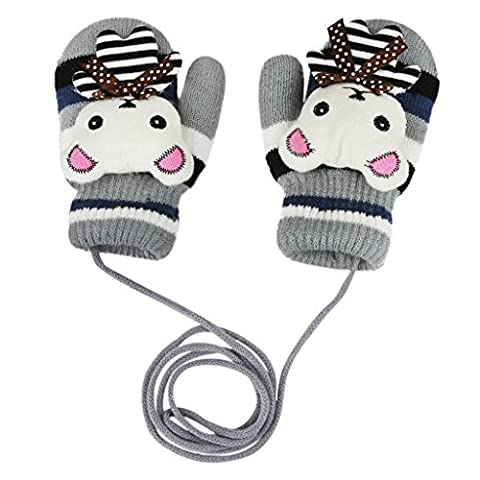 Children Hang Neck Gloves Kids Winter Full Finger Knitted Wrist Gloves with String Thick Cartoon Mittens Boys Girls Rabbit Pattern Stripes Hand Warmers Snowboarding Skiing Windproof Outdoor Mittens