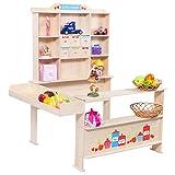 COSTWAY Kaufladen Kaufmannsladen Kinderkaufladen Einkaufsladen Verkaufsstand Marktstand für Kinder aus Holz