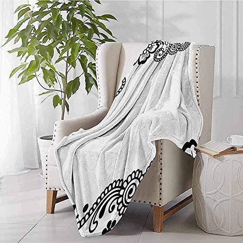 mallcentral-EU Henna Blanket Floral Eckverzierungen mit Strudeln und Blüten Monochrome folkloristische Inspirationen schwarz weiß