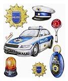 Stickerkoenig Wandtattoo 3D Sticker Wandsticker - Polizei, Polizeiauto, Kelle, Zubehör #543 Kinderzimmer Deko auch für Wände, Fenster, Schränke, Türen etc auf Bogen
