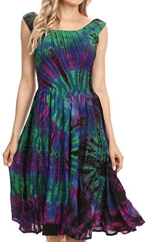 Kleid Tie Dye Kostüm - Sakkas 181476 - Alba Frauen Weg von der Schulter Smock Ruffle Midi Kleid Tie Dye & Stickerei - Raspberry - OS