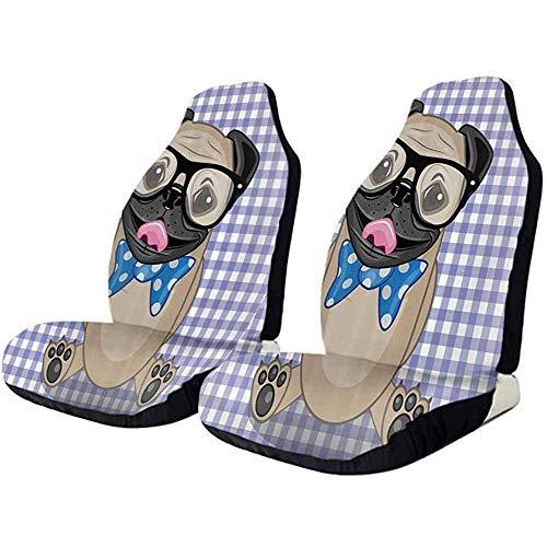 Olive Croft 2PCS Protezione universale per seggiolino auto, occhiali nerd Bow Tie Dog Automobile Truck SUV Set completo