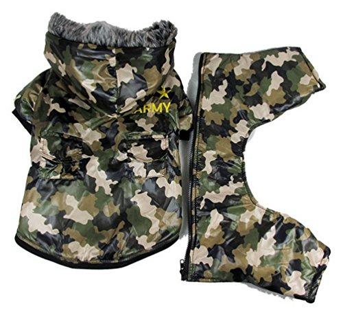 (smalllee lucky store Pet Jacke mit Kapuze Katze Hund US Army Camouflage Wasserdichter Hundemantel Jumpsuit für junge Mädchen Große Hunde 2XL)