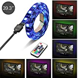 Topist USB TV LED Light, RGB 5050 60 LEDs Neon Accent Lighting System Kit, Flexible Adhesive Tape Multi-Color Changing Light With RF Wireless Remote For Flat Screen TV LCD, Desktop PC, 3.3Ft