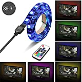 IWILCS LED TV Backlight,Multi Color USB LED Strip TV Back Lighting Bias lighting Kit Mood Light with Remote Control for Monitor,TV,Desktop,PC-100 CM