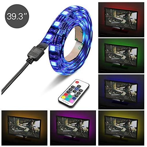 Topist-Striscia-led-TV-100-cm-DC-5-V-USB-TV-retroilluminazione-LED-barra-luminosa-Kit-impermeabili-pi-colori-strisce-RGB-cuttable-USB-Flash-Illuminazione-d-Atmosfera-con-telecomando-IR-frtv-PC-Monitor