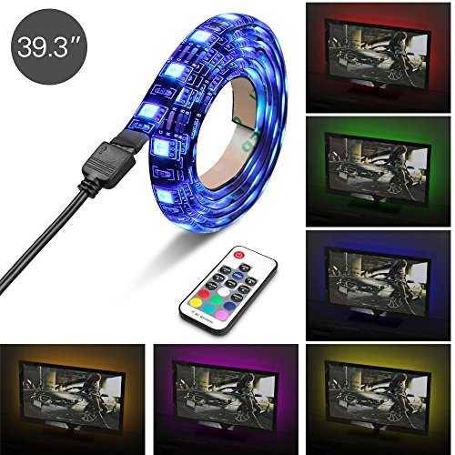 Pc lighting amazon iwilcs led tv backlightmulti color usb led strip tv back lighting bias lighting kit mood light with remote control for monitortvdesktoppc 100 cm mozeypictures Image collections