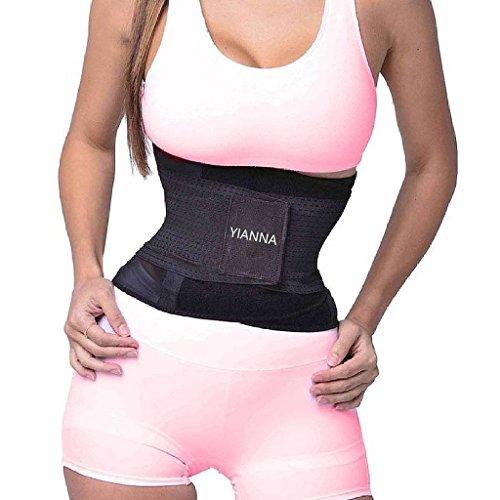 YIANNA Mujer Faja Reductora Adelgazante de Neopreno Cintura Abdominal Cinturón Negro Corset Reductor Lumbar de Malla Transpirable,UK-YA8001-Black-S