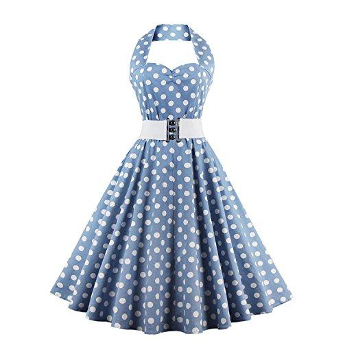 LUOUSE Vintage 1950's Audrey Hepburn pin-up robe de soirée cocktail, style halter années 50 à pois 1-DotBlue