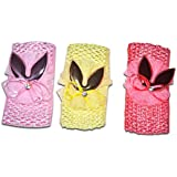 Chipbeys Pack Of 3 Headband, Bandana Bunny Hairband For Baby Girls Yellow Red Pink