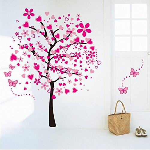 HALLOBO XXL Wandtattoo Wandaufkleber Herz Baum Liebe Pink Blumen Schmetterlinge Wandsticker Wall Sticker Wohnzimmer Schlafzimmer Deko...