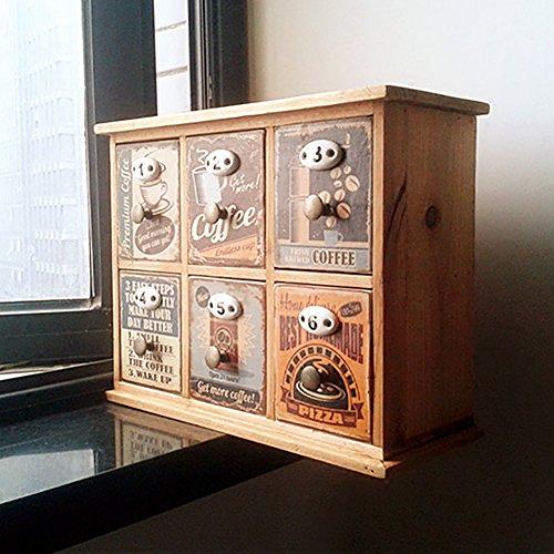 NJDFJDEFHDFHDJD 6 Fach lackiert Desktop-kleine Schrank,Schreibtisch aus Holz veranstalter amerikanische Retro-möbel aus Holz Schmuck aufbewahrungsbox-A - Holz Schrank Veranstalter