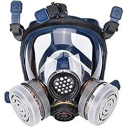 Mascarilla Facial de Silicona Mascara de Gas para Pintura en Aerosol, Polvo, Lijado a Máquina, Protección con Filtros Respiradores Industrial de Gas