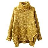YOUJIADamen Turtleneck Pulli Dick Strickpullover Elegant Winter Oberteil Asymmetrisch Gestrickt Sweater (Gelb, Eine Größe)