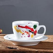 LOYWT tazas de café, magnesia, porcelana tazas, platos, Inglés Latte, Latte
