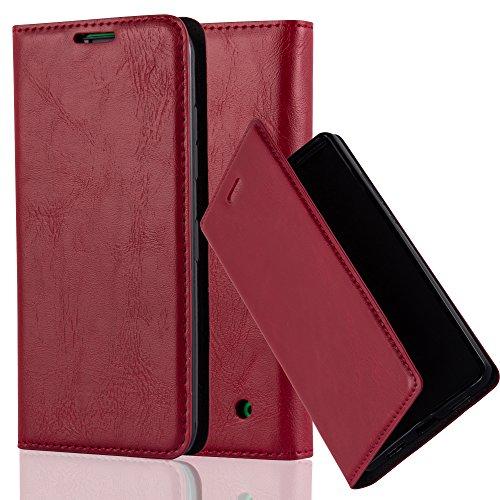 Nokia Lumia 630 / 635 Hülle in ROT von Cadorabo - Handyhülle mit unsichtbarem Magnetverschluss Standfunktion und Kartenfach Case Cover Schutzhülle Etui Tasche Book Klapp Style in APFEL - Phone Cover Nokia 635 Lumia