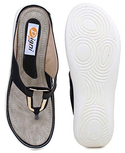 Digni simili cuir des femmes de cause à effet en plein air sandale plate 1 pair- choisir la taille Noir