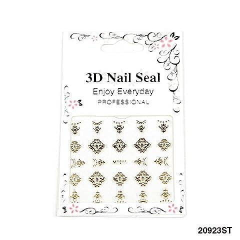 Goldfarbene 3D Nagel Sticker mit schönen Ornamenten