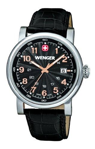 Wenger Urban Classic 01.1041.105 - Reloj analógico de cuarzo para hombre, correa de cuero, color negro (agujas luminiscentes)