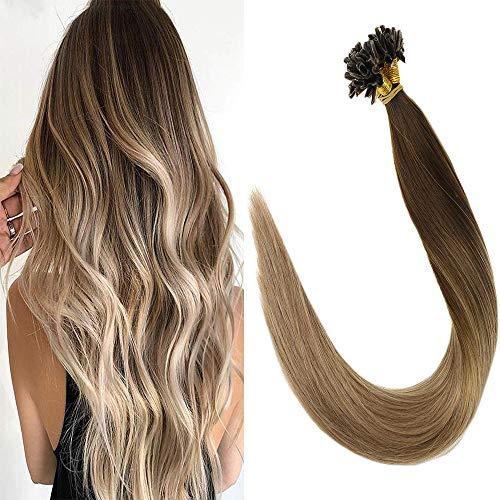 Dunkle Braun-highlights (LaaVoo 20 Zoll Utip Extensions Highlight Dunkel Braun und Aschblond Pre Bonded Fusion Hair Glatt 1g Haarverlangerung Bonding mit Keratin 50Gramm/50Stuck #4/18)