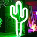 LED Cactus Néon Lumière Veilleuses - XIYUNTE Vert Enseignes lumineuses Décoration murale, Batterie et alimenté par USB Cactus Néons Éclairage intérieur pour chambre,Saint Valentin,cadeaux de Noël
