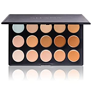 SHANY Cosmetics Professional Cream Foundation and Camouflage Concealer 15 Color Palette, 13 Ounce by SHANY Cosmetics