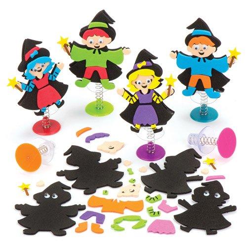 Bastelsets Hexe und Zauberer mit Hüpffunktion als lustiges Spielzeug für Kinder zum günstigen Preis – perfekt als kleine Party-Überraschung für Kinder zu Halloween (6 Stück) (Halloween-taschen Günstige)