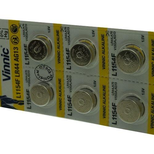 Vinnic Batterie-Set, L1154F / LR44 / AG13,1,5V, Alkaline, 10 St.