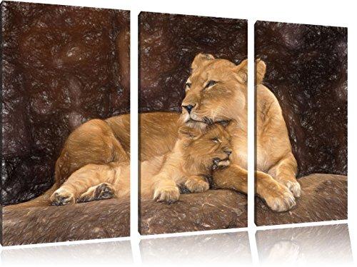 leo-coccole-con-il-suo-leone-120x80-immagine-su-tela-cubs-effetto-arte-pastello-3-pezzi-tela-di-cana