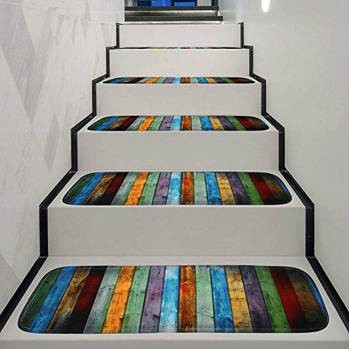 YHLVE-Anti-Rutsch, waschbar, Teppich-Stufenmatten, Rutschfeste Unterseite aus Gummi, spezielles, 70x 22x 1cm, Holz, für Innen und Außen