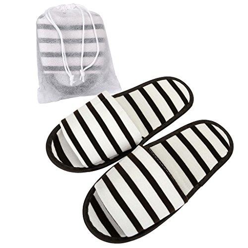 Mangostyle 5 paia set pantofole da viaggio con sacchetti di stoccaggio ciabatte portatile pieghevole antiscivolo unisex misura unica in morbida spugna di cotone 5pcs - bianco+nero