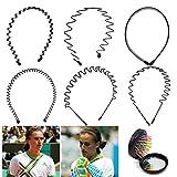 YLX Unisex metalen haarband zwart multi-stijl lentegolf metalen haarband voor vrouwen mannen (6 stuks)