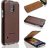 Handyhülle Samsung Galaxy S5 / S5 Neo - echtes Leder - HANDGEFERTIGT - bester Schutz Ihres Handys im Flip Cover Design - Etui Case Schale Tasche für Ihr Smartphone - Handytasche S5 in Braun