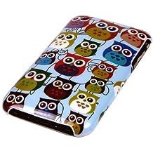 gada - Handyhülle für Apple iPhone 3GS 3G 3 Schutzhülle Hardcase im stylischen Design - kleine süße Eulen Owl bunt