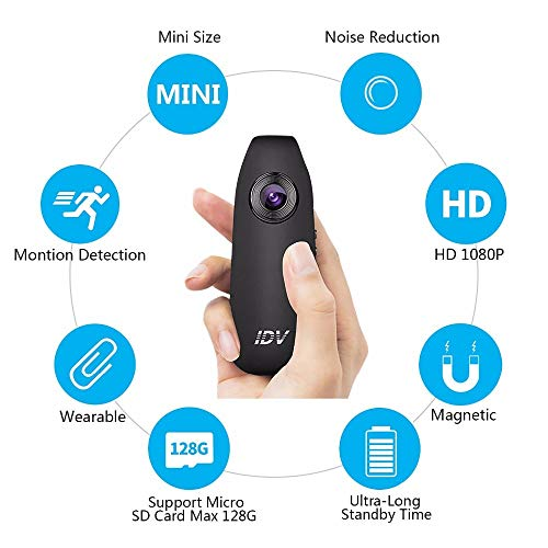 TONGTONG Tragbare Kamera Full HD 1080P Mini Motion Detecion Mikrokamera Weitwinkel 130 Grad Stift Kamera Digital Video Voice Recorder - Voice Recorder Motion Sensor