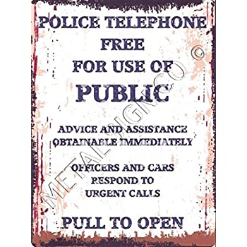 POLICE PHONE BOX BLUE METAL SIGN VINTAGE STYLE 8x10in 20x25cm pub bar shop