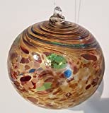 Kugel zum hängen bunte Glaskugel braun bunt gelüstert mundgeblasenes Kristallglas Fensterdekoration Durchmesser ca. 13 cm Oberstdorfer Glashütte