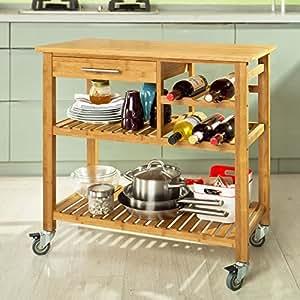 Sobuy desserte avec tiroir fkw23 n cuisine for Desserte de cuisine avec tiroir