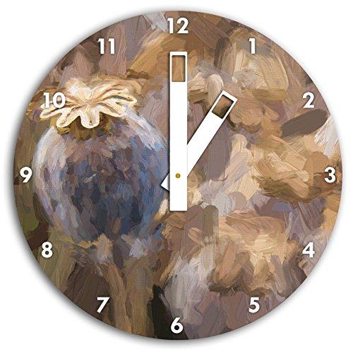 Stil.Zeit Mohnkapsel der Mohnblume Kunst Pinsel Effekt, Wanduhr Durchmesser 30cm mit weißen eckigen Zeigern und Ziffernblatt -