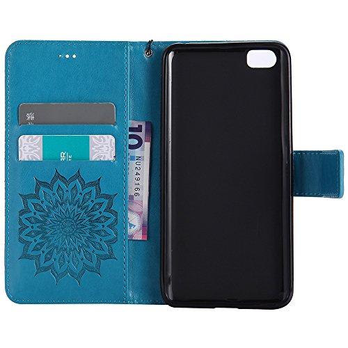 Für Xiaomi 5 Case, Prägen Sonnenblumen Magnetic Pattern Premium Soft PU Leder Brieftasche Stand Case Cover mit Lanyard & Halter & Card Slots ( Color : Brown ) Blue