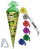 Unbekannt Schultüte - Marienkäfer  Viel Glück  - 50 cm - incl. Namen und individueller Schleife - mit Tüllabschluß - Zuckertüte - mit / ohne Kunststoff Spitze - für M..