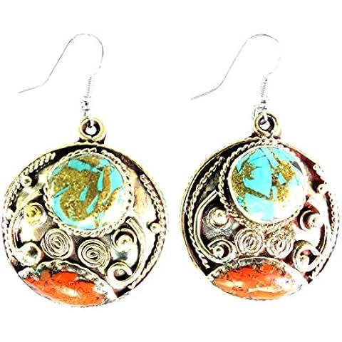 ORECCHINI moda per le donne 925 ciondola orecchini di corallo & Turquoise Earrings da argento tibetano - Black Pearl Ciondola Gli Orecchini