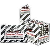 Fisherman's Friend Salmiak | Karton mit 24 Beuteln | Menthol und Salmiak Geschmack | Zuckerfrei für frischen Atem
