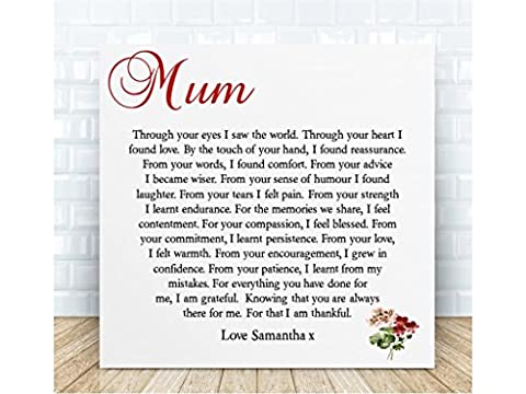 Personalised Mum Poem Gift. Ceramic Plaque. Boxed. The perfect sentimental gift for Birthdays, Mother's Day, Christmas & Special Occasions. Personalised details
